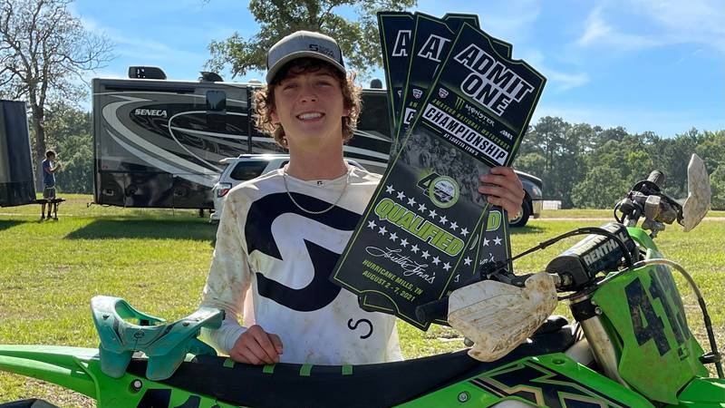 16-year-old Kaden Shaw qualifies in two events, 250 C Jr. Limited and 450 C Limited, for AMA...