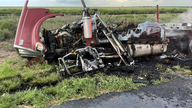 A semi truck caught fire after a collision in Hartley County