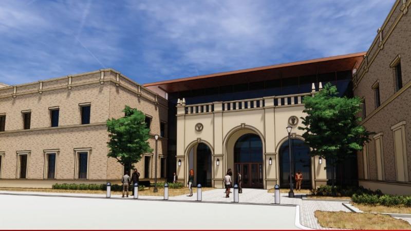 A rendering shows the main entrance of the future School of Veterinary Medicine Amarillo...
