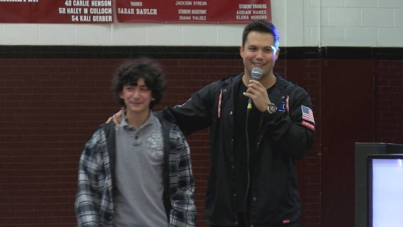 Actor Michael Copon came to Hereford High School and Junior High Thursday, speaking to students...