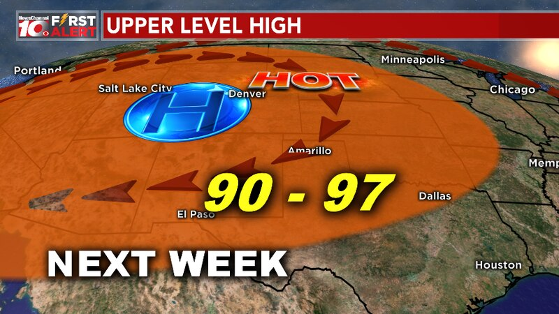 Upper-level high moving east into our region