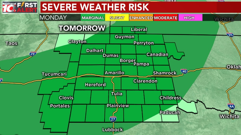 Severe weather outlook for Monday, 16th