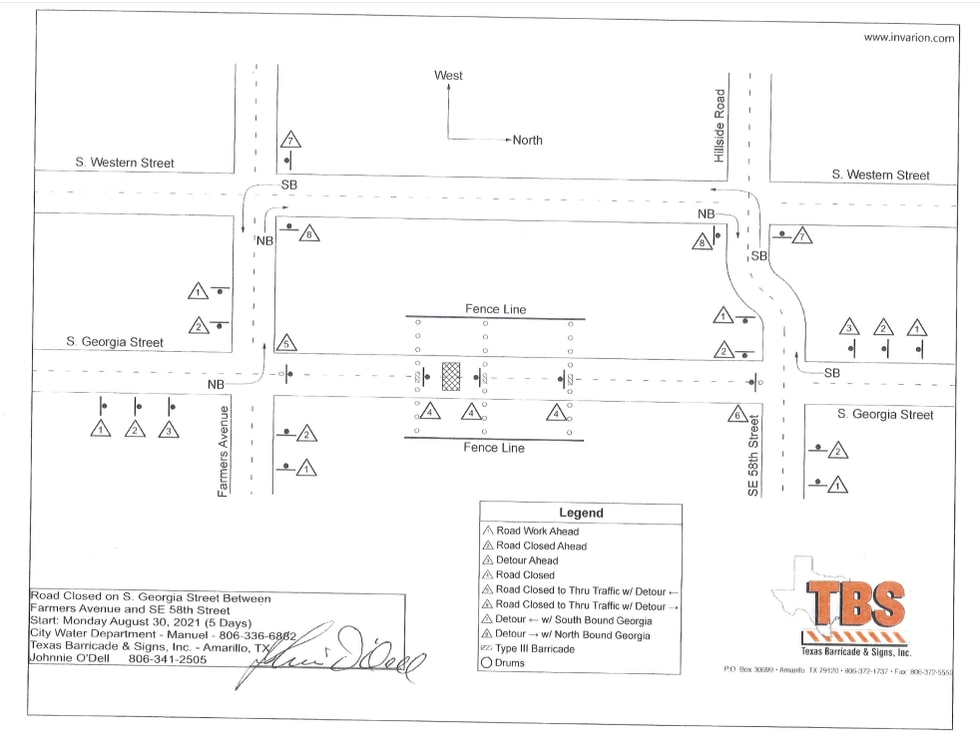Map of water project on Hillside and 58th (Source: City of Amarillo)
