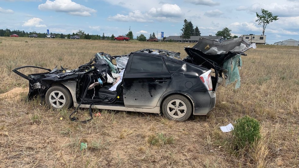 A woman driving southbound crossed the median and hit another car head-on.