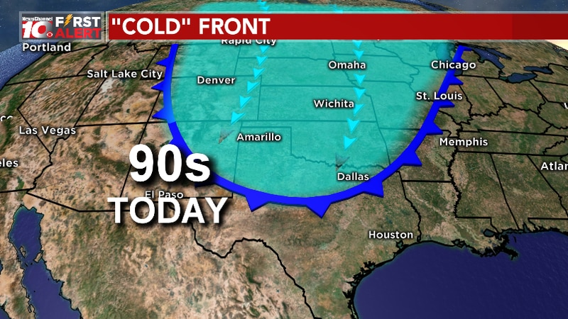 A cold front is pushing in this morning bringing slightly cooler weather