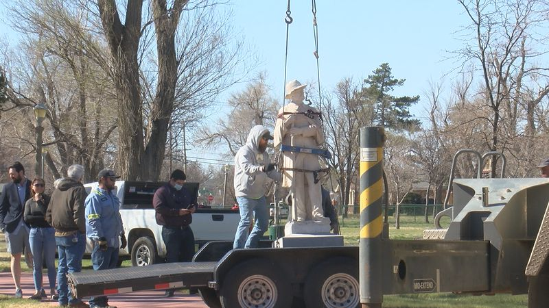 The statue of the confederate soldier sat at Ellwood Park for about 90 years until today.