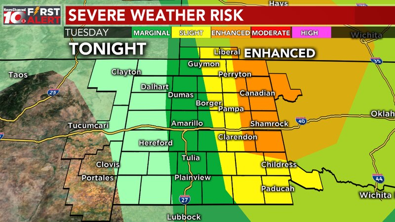 Storm Prediction Center outlook for tonight