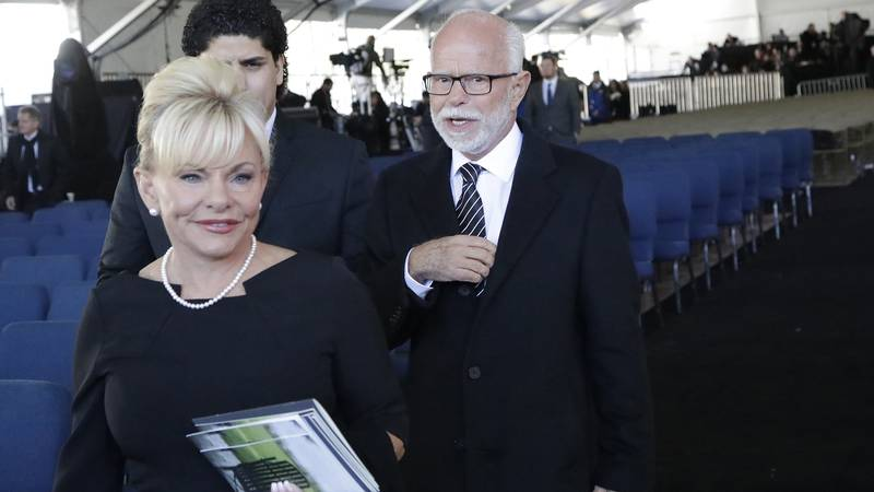 FILE - In this March 2, 2018 file photo, televangelist Jim Bakker, right, walks with his wife...