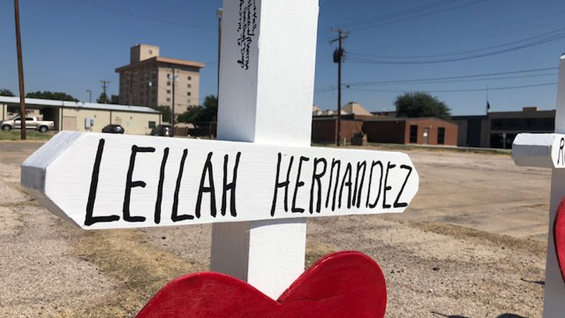 A cross with the name Leilah Hernandez was erected in Odessa to commemorate the 15-year-old who...