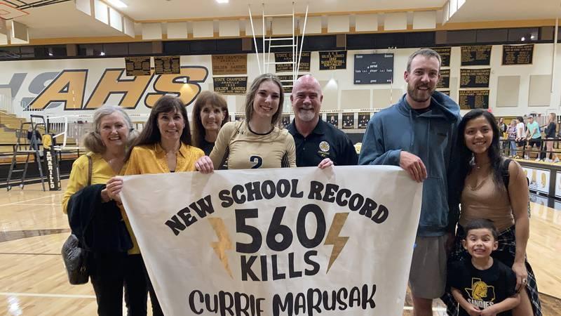 Amarillo High senior outside hitter Currie Marusak broke the program record for most kills in a...