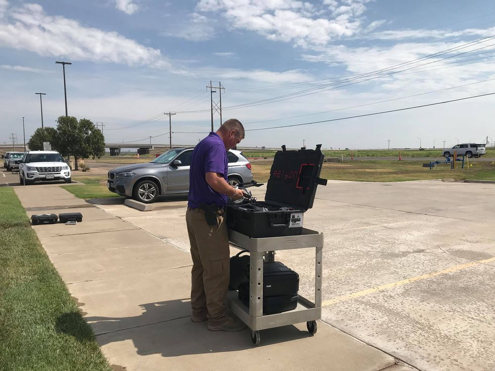 Randall County Sheriff's setting up Drone.