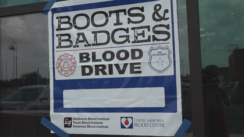 Saturday, more than 100 people donated blood at the Boots and Badges Blood Drive.