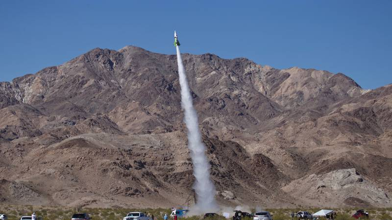 """""""Mad"""" Mike Hughes' home-made rocket launches near Amboy, Calif., on Saturday, March 24, 2018...."""