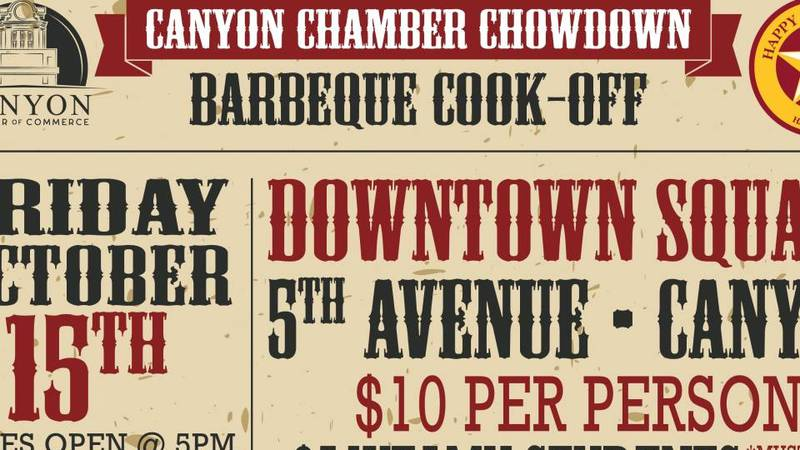 The Canyon Chamber Chowdown barbecue cook-off is happening this Friday, October 15.
