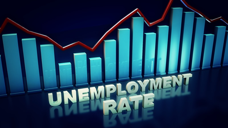 3d UNEMPLOYMENT RATE lettering and 3d bars, finished graphic