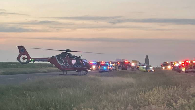 The scene of a one-vehicle rollover on US Highway 287.